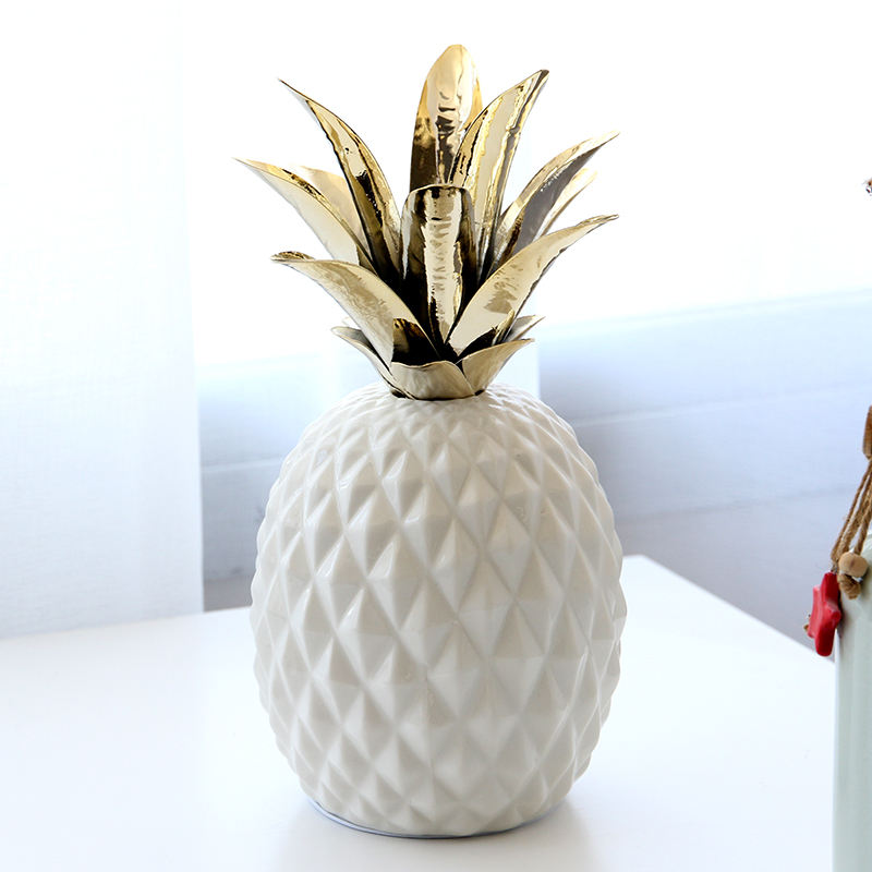 Artificial white ceramic pineapple with iron leaf