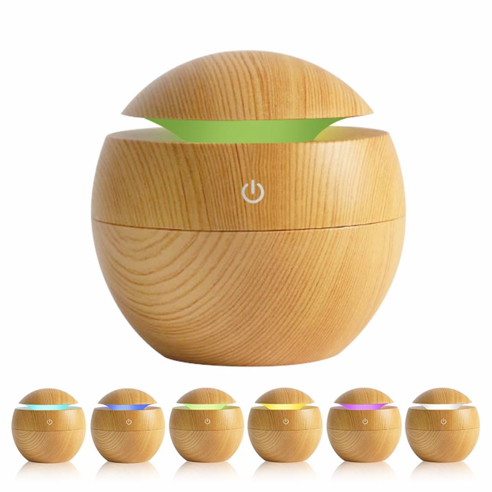 2018 130ml Mini Wood Grain Ultrasonic Aroma Essential Oil Diffuser