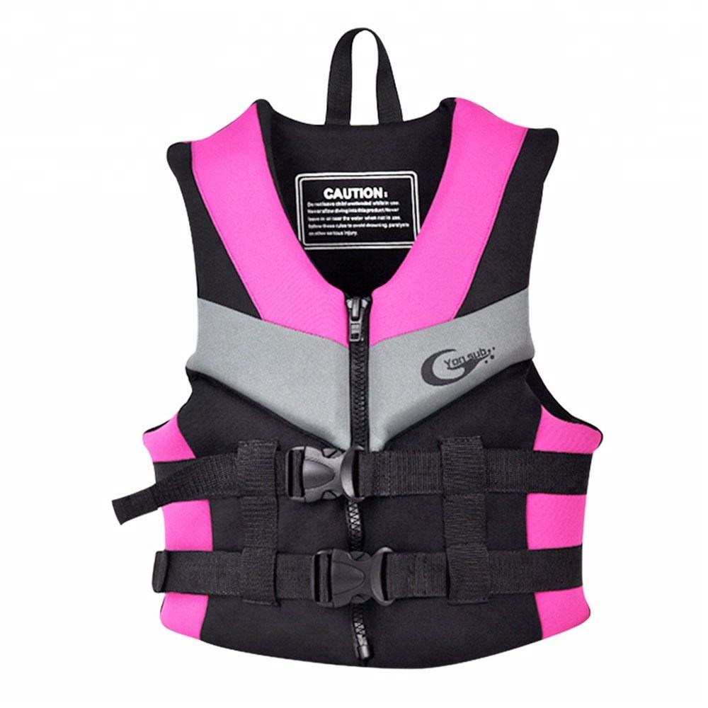Waterproof neoprene with EPE Foam custom logo pink color adult life jacket