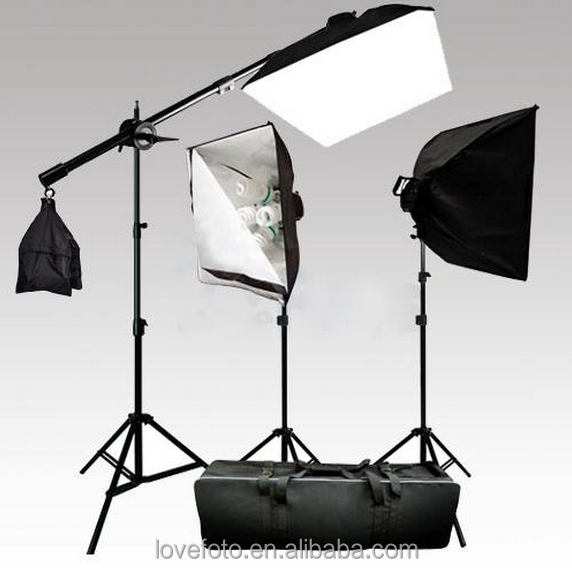 New Photography/fotografia/Photo Studio 100-240V 600W Continuous Lighting Softbox BoomアームKit