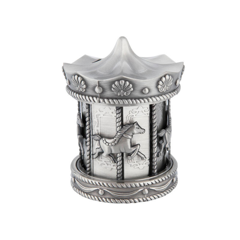 zinc alloy carrousel money box wholesale for home decoration use