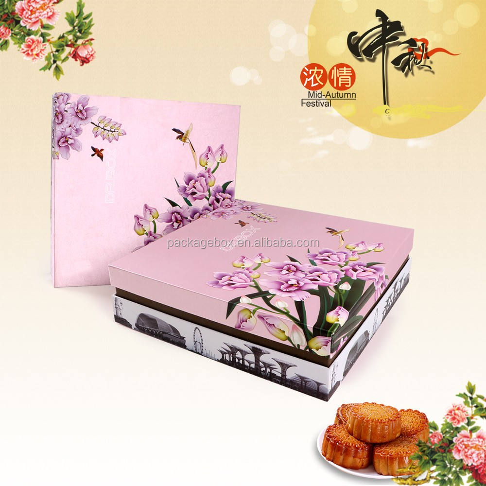 4 pc cakes recycled paper box luxury for mooncake packaging