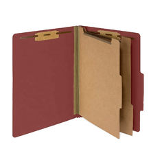 High Quality Two Dividers Red Handmade Paper Pressboard Classification File Folder With Fasteners