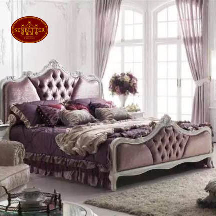 YB007 antique Italian king size bedroom furniture in either brown or white color