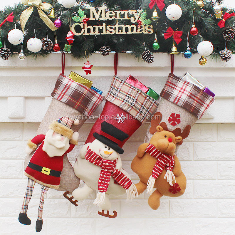 Large Socks Bag Christmas Decoration Xmas Tree Decor Hanging Candy/Gifts Storage