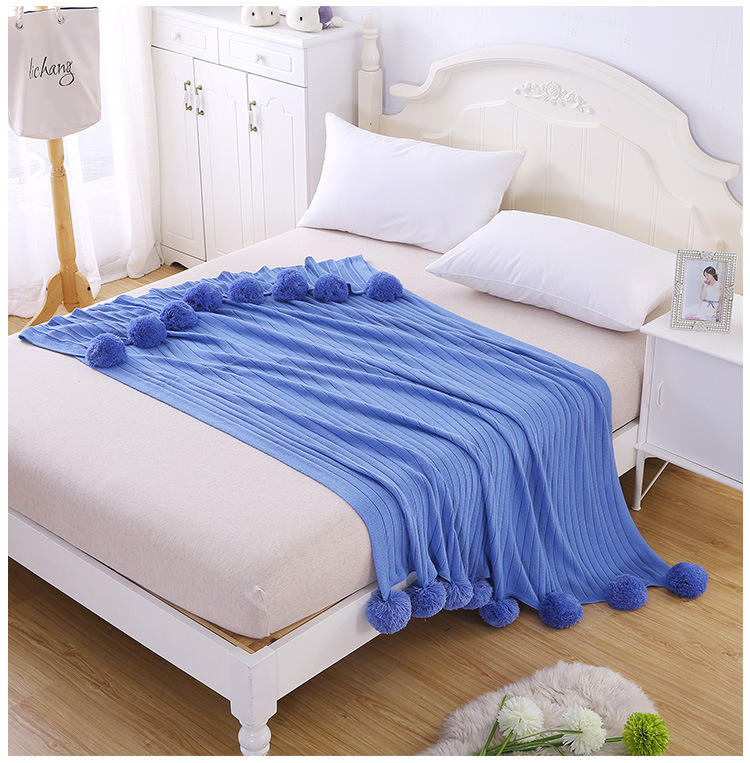 chinese factory stock soft crochet knitted blanket at good price