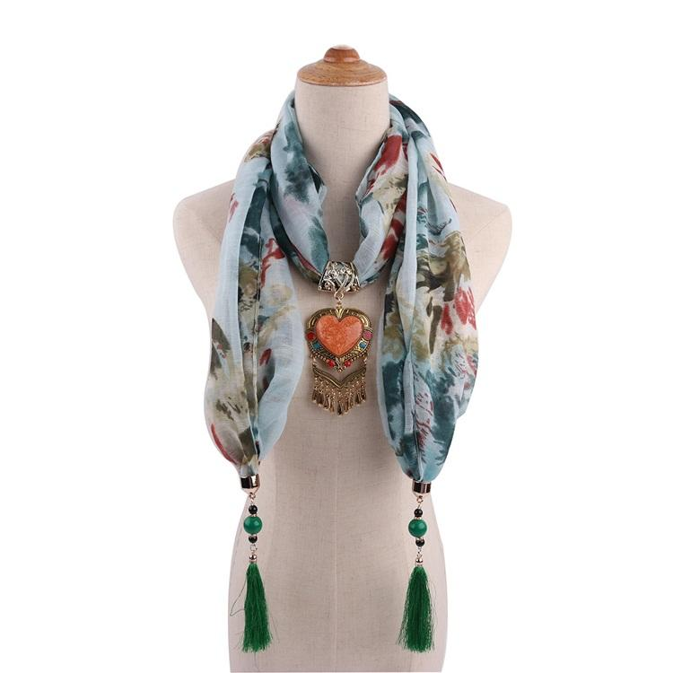 Colorful Printing Beaded Ladies Necklace Scarf Jewelry