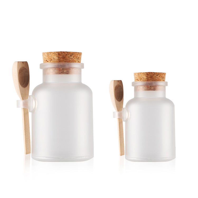 100ml ABS PP plastic contain bath salt bottles with cork stopper lid and wooden spoon