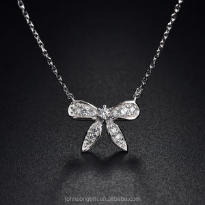 New products 2018, Korean style Insect butterfly pendant charm necklace, 925 silver jewelry rhodium plated