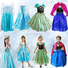 cheap FROZEN SNOW ELSA KIDS GIRLS ANNA DRESSES PRINCESS DRESS COSPLAY COSTUME BC338