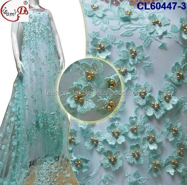 Top fashion beautiful lace CL60447 3D Wedding Dress High Quality handmade embroidery aqua lace fabric with golden beads