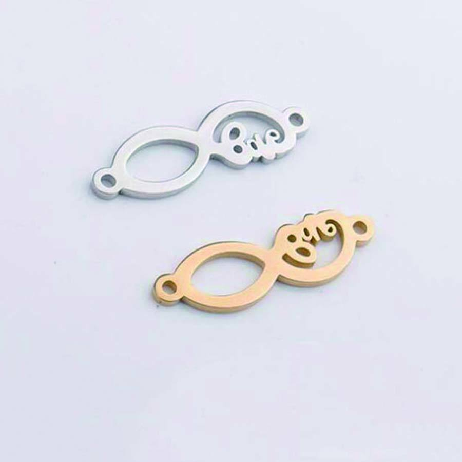 DIY Stainless Steel Pendant Love Word Connector Infinity Charms for Bracelet Necklace Earrings