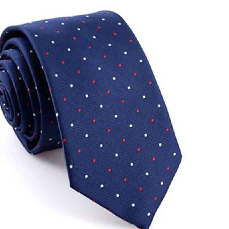 Polka Dots Navy Blue Sell Well Men's Polyester Neck Tie
