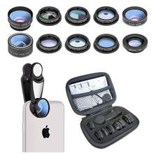 OEM factory 10 in 1 phone camera lens kit universal clip mobile phone fisheye wide macro lens