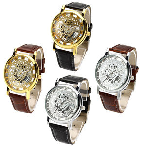 Fashion Custom Printed Logo Silicone Wristwatches Reloj Para Hombre Personalized Leather Mens Sport Vogue Hollow Out Dial Watch