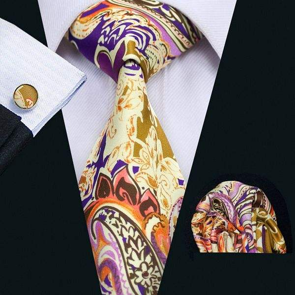 B-1268 Customer Design Gold Floral Purple Silk Mens Tie Printed Polyester Necktie