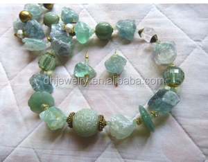 Green Summer Dream of raw fluorite stone and beryl - gorgeous necklace