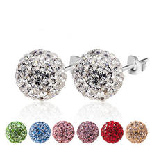 925 Sterling Silver Woman Fashion Full Crystal Stud Earrings