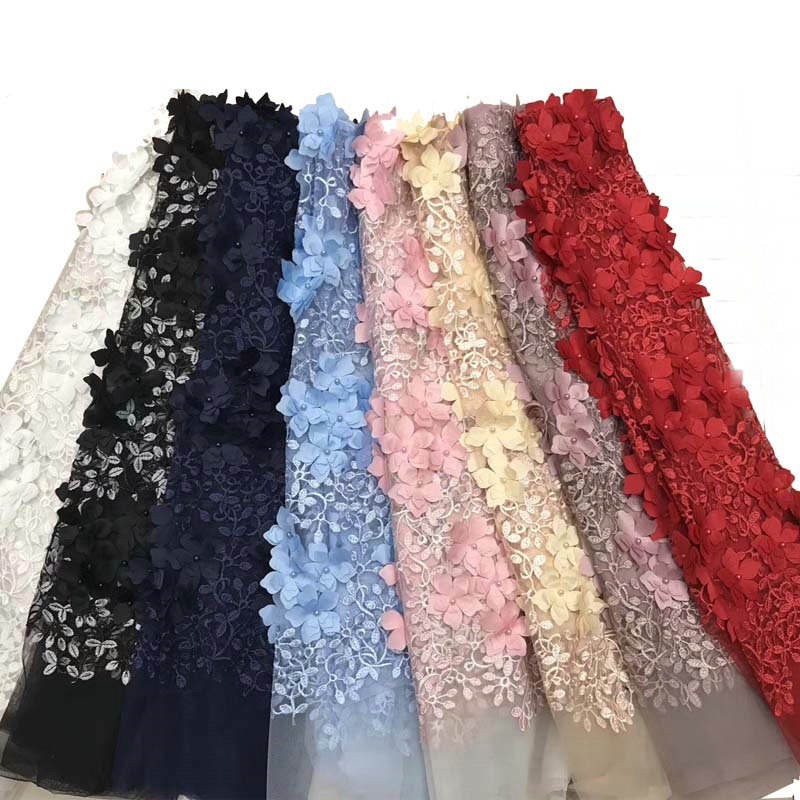 various designs high quality embroidery design 8 colors 3D flower tulle lace fabric for wedding dress party dress