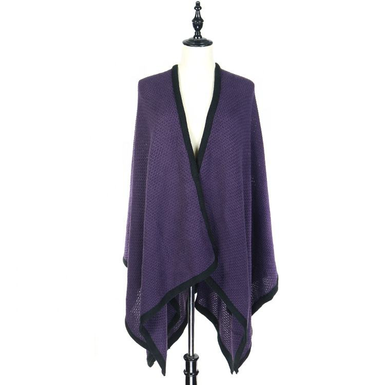 Purple Solid Color Knit Pattern Front Open Shawl Cloak