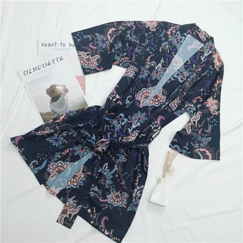 Digital Printing Women's Floral Short Lightweight Kimono Robes Bride and Bridesmaid Nightgown
