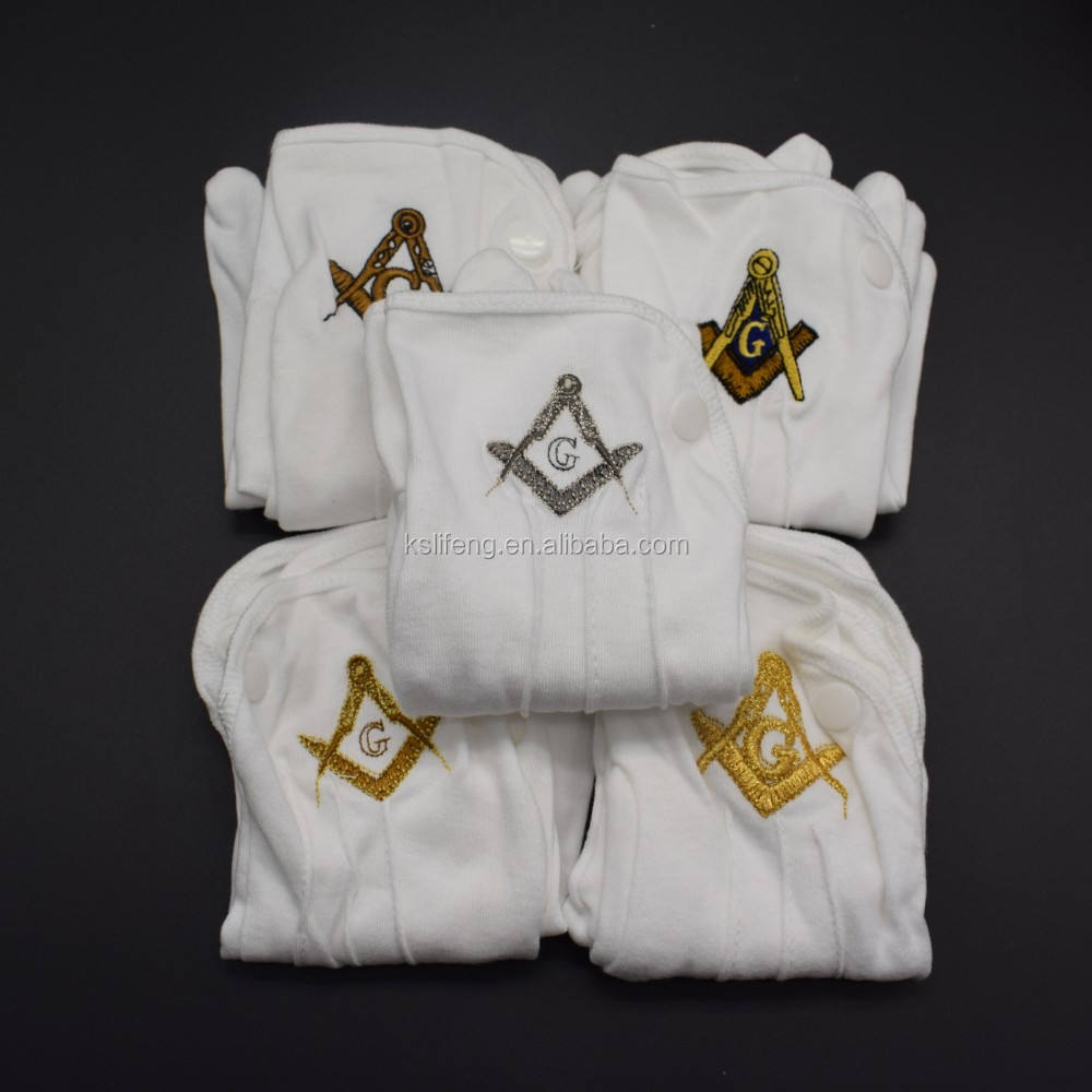 Custom Free Size White Cotton Masonic Gloves made masonic metal logo for gloves