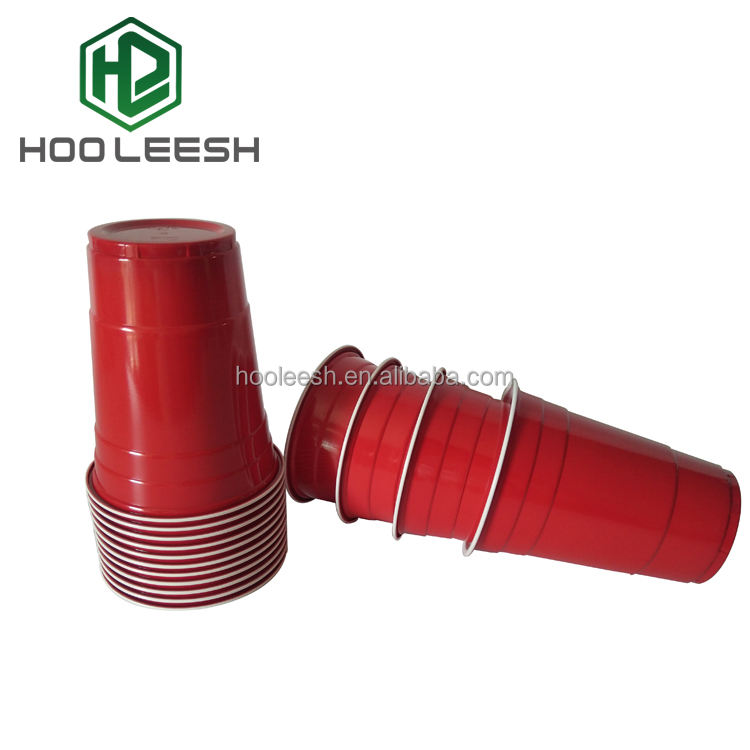 16OZ DisposableพลาสติกSolo Cup PartyสีแดงBeer Pongถ้วย
