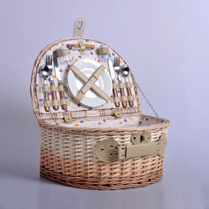 High quality custom portable empty handmade half round storage box rattan willow wicker picnic basket hamper set for 2 persons