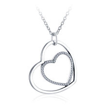LZESHINE Dainty Simple Hollow Heart Design 925 Silver Double Love Heart Pendant Necklace PSNL0009
