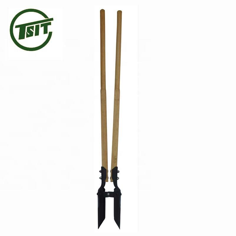 wooden handle garden tool post hole digger
