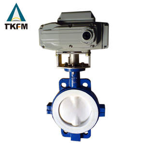 chinese supplier water supply use 3 electric actuator triple offset ptfe lined butterfly valve tianjin