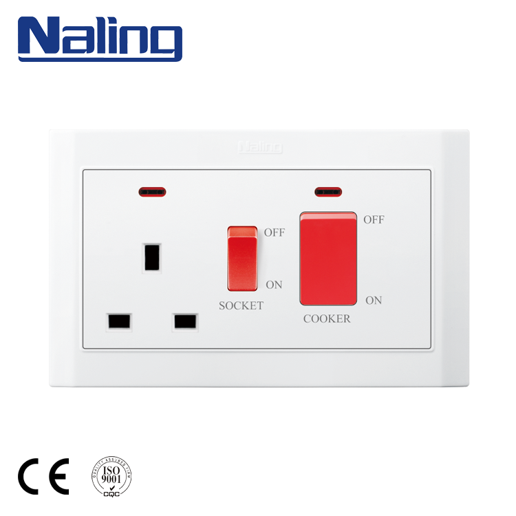 Naling China Fabrikant Koop PC Base 13A <span class=keywords><strong>Socket</strong></span> En 45A Schakelaar Muur Fornuis Unit
