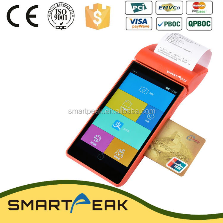 PCI and EMV certified handheld portable smart mobile commercial android full touch screen pos support MSR, IC, NFC and printer