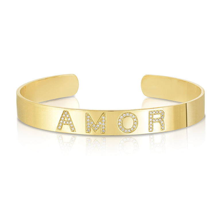 AMOR gold plated hip hop jewelry inspirational cuff bangle
