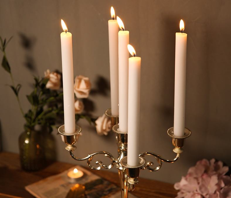 Common Paraffin Wax Decorative Thin Taper Decorative White Candles
