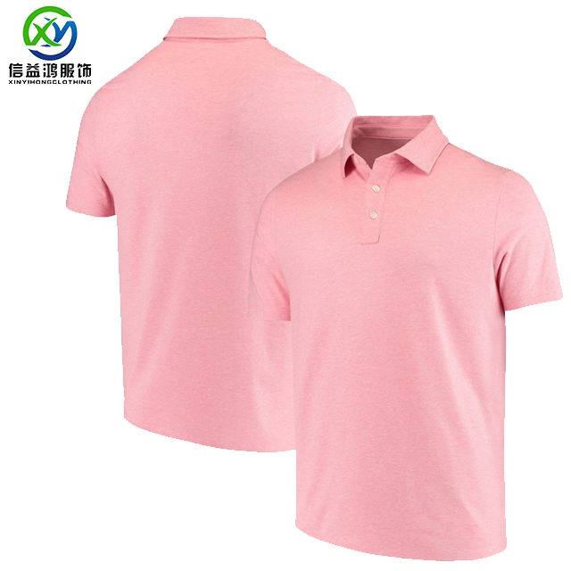 Men's Pink Polyester Spandex Blending Super Dry Moisture Wicking Golf Polo Shirt Big And Tall Size Plus Size Shenzhen Factory