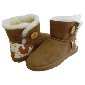 Top quality OEM warm real fur lined double face sheepskin boots women shoes winter