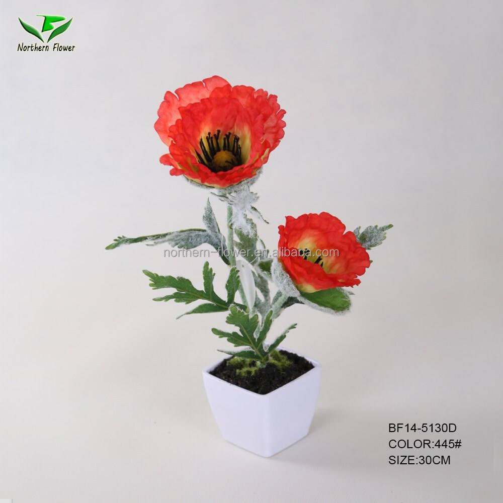 Искусственные цветы, искусственный цветок мака с горшок