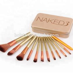 Hot Selling Nake 3 Cosmetic Makeup Brushes Manufacturers With Metal box