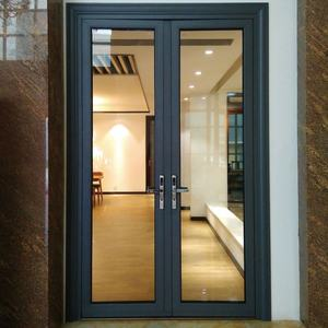 aluminium double two way exterior front shop glass entrance opening door