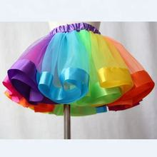 Cheap Dance Ballet Party Dress Kids Rainbow Tutu Skirt Girls Colorful Tulle skirt