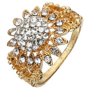 Fast Delivery Jewelry Rhinestone Gold Sunflower Shape Rings