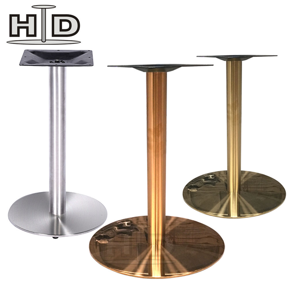 Wholesale adjustable unique brushed coffee chrome brass marble stainless steel dining table base for restaurant
