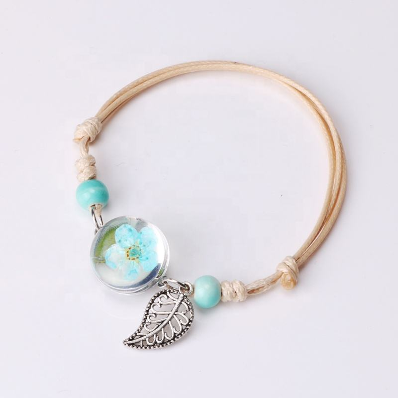 Luyun wholesale resin glass 12 colors dried flower bracelet with leaves