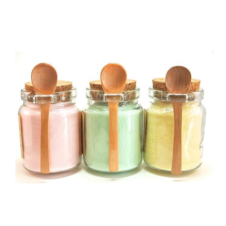 FT-302S Wholesale Body Scrub Jars Honey Glass Bottle Vial Spice Jar With Cork Lid And Wooden Spoon