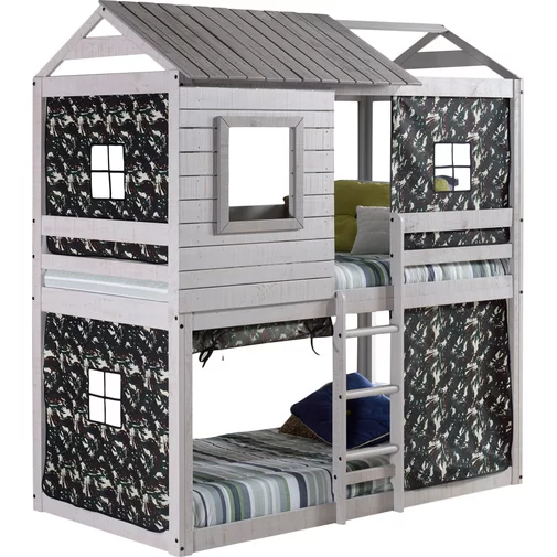 Factory Direct Sale Solid Pine Wooden House Frame Loft Bunk Bed Kids Bunk Bed