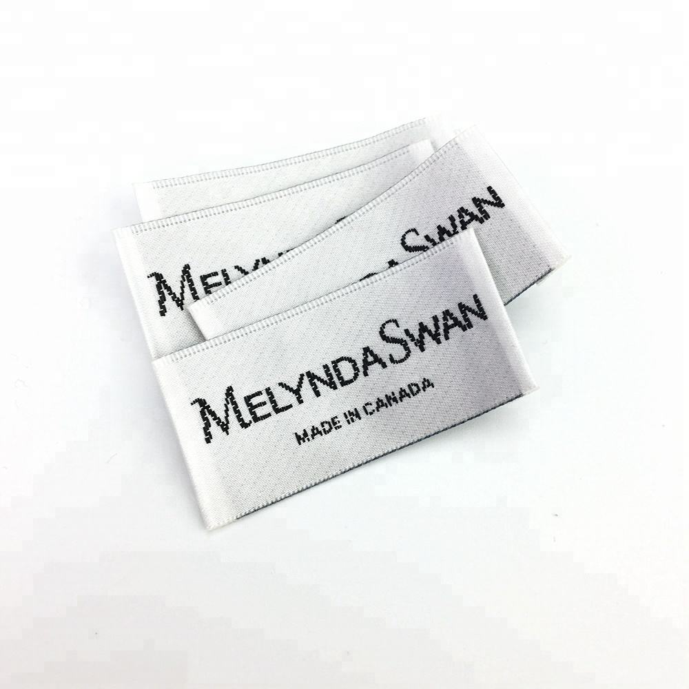 custom loop fold/end fold satin woven label/damask woven label brand name private clothing label