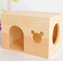 Custom bite-resistant pine squirrel House villas Small pet Meter window cabin chinchillas wooden nest