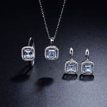 Fashion  Wedding Bridal Sliver Jewelry Ring Earring Necklace Set