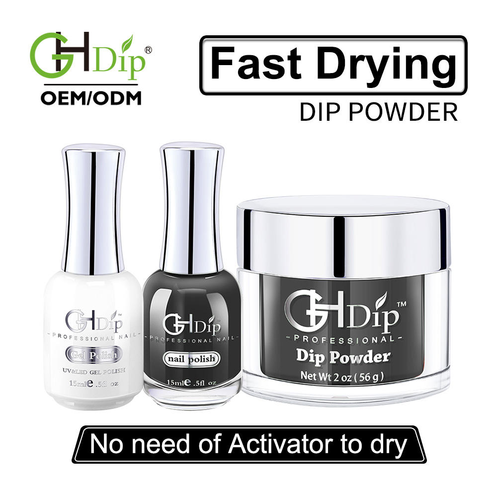Nail Dipping Powder Leading Manufacturer Custom Your Logo Fast Drying Nail Dip Powder 3 In 1 Set Color Match Gel Polish And Nail Lacquer